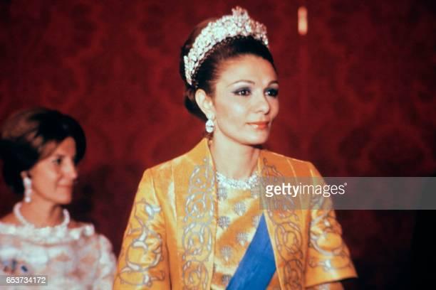 Portrait taken in October 1971 in Persepolis shows Empress of Iran Farah Pahlavi / AFP PHOTO /