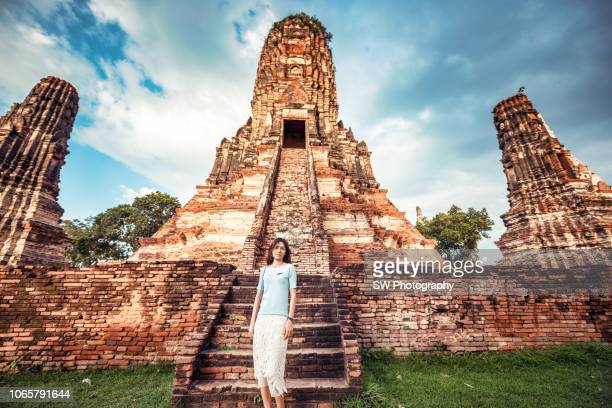 portrait taken in wat chaiwatthanaram - old ruin stock pictures, royalty-free photos & images