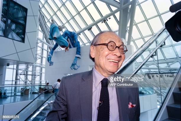 Portrait taken on Augsut 31 1995 shows Chinese American architect Ieoh Ming Pei during the opening ceremony of the Rock and Roll Hall of Fame museum...