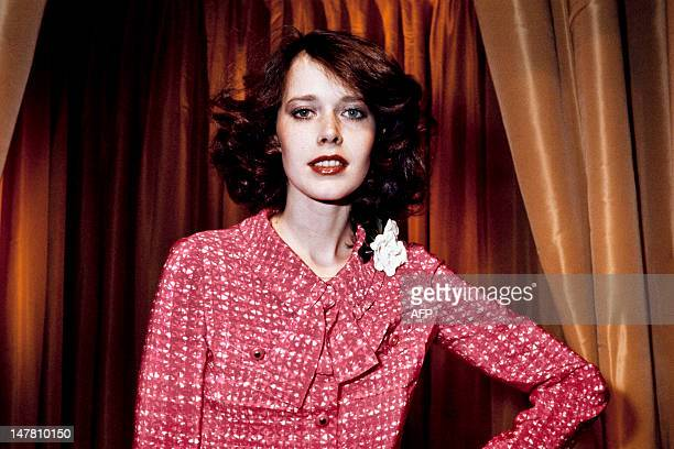 Portrait taken on January 27, 1976 in Paris shows Dutch actress and model Sylvia Kristel displaying a Chanel creation. AFP PHOTO
