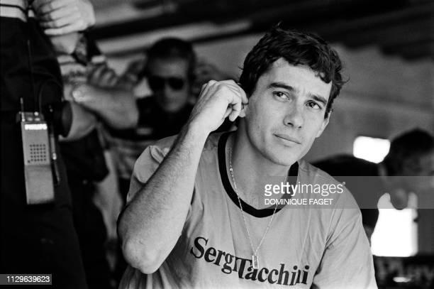 Portrait taken on July 13, 1986 at the Estoril Circuit shows Brazilian Formula One driver Ayrton Senna during the Portuguese Grand Prix.