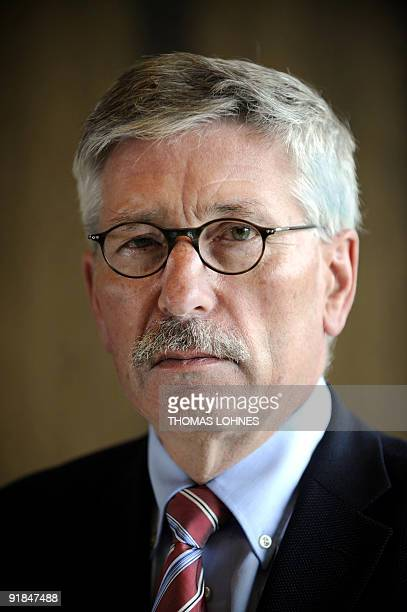 FILES Portrait taken on July 7 2009 in Wiesbaden shows Thilo Sarrazin a member of the sixman board at the powerful Bundesbank who was relieved of his...