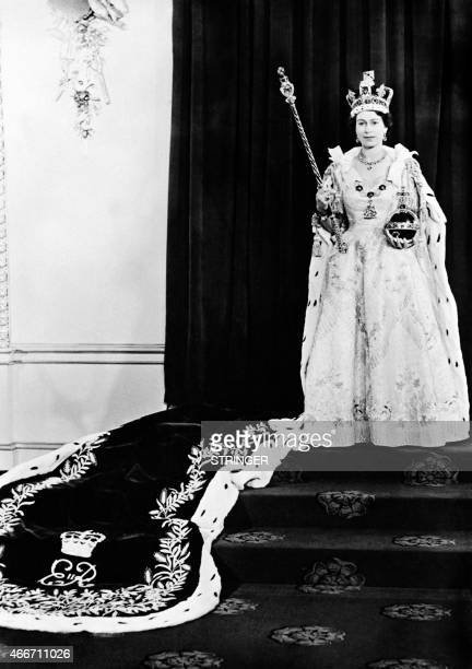 Portrait taken on June 2 1953 shows Britain Queen Elizabeth II during her coronation which was the first to be televised AFP PHOTO / AFP PHOTO /...