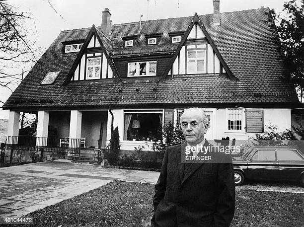 Portrait taken on March 3 1971 shows German architect Albert Speer for the German Reich posing in front of his home in Heidelberg Appointed in 1933...