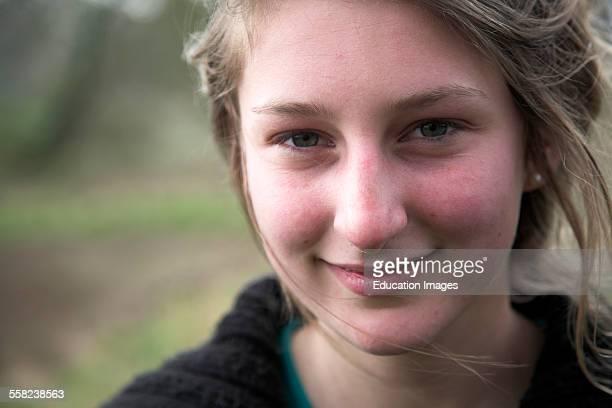 Portrait teenage girl head and shoulders