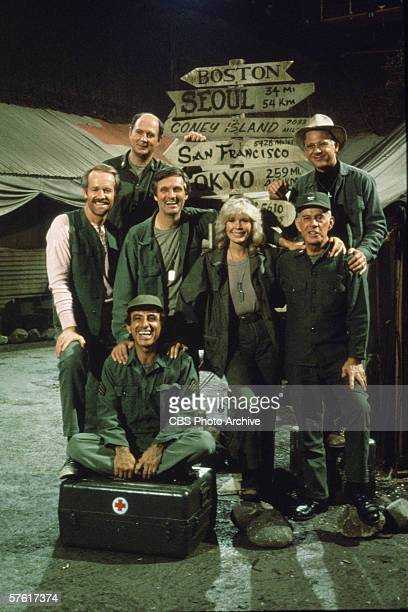 Portrait the cast of the television show 'MASH' mid to late1970s From left American actors Mike Farrell David Ogden Stiers Alan Alda Jamie Farr...