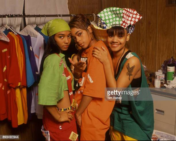 TLC Rozonda 'Chilli' Thomas Tionne 'TBoz' Watkins and Lisa 'Left Eye' Lopes portrait United Kingdom 1992