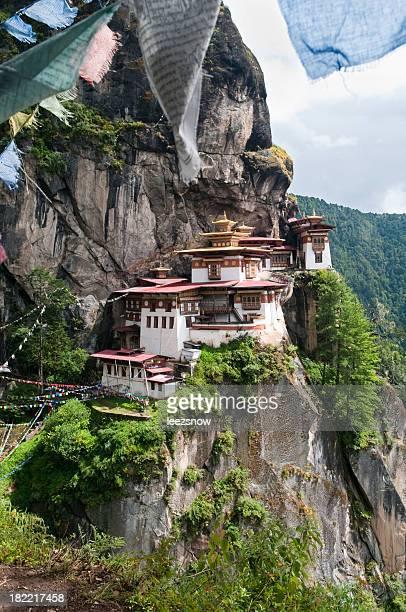 Portrait view of Tiger's Nest Monastery in Bhutan