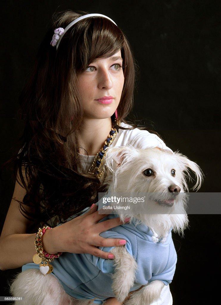 Portrait with dog : Stock Photo