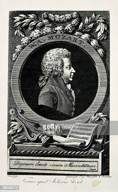 Portrait Wolfgang Amadeus Mozart. Engraving by Johann Georg Mansfeld. 1789. [W. A. Mozart. Stich von J.G. Mansfeld d. J. Nach Leonhard Posch. 1789.]