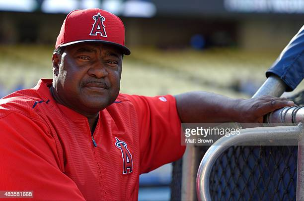 A portraitlike view of hitting coach Don Baylor of the Los Angeles Angels of Anaheim during batting practice before the game against the Los Angeles...