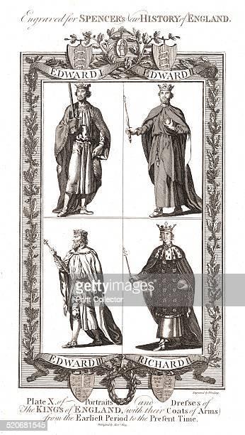Portraits and Dresses of The Kings of England with coats of ArmsEdward I Edward II Edward III Richard IISpencers New History of England