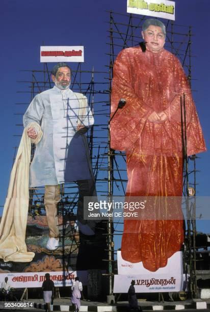Portraits géants de Sivaji Ganesan et Jayalalithaa dans la rue à Madras Inde