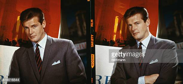 Portraits of actor Roger Moore currently starring in television's The Saint series