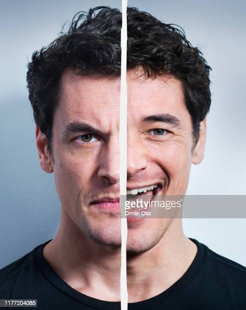 portraits of angry / ecstatic man - schizophrenia stock pictures, royalty-free photos & images