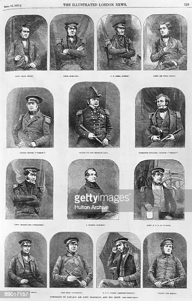 Portraits of Arctic explorer John Franklin and his crew circa 1845 The entire expedition was lost on a voyage to the Northwest Passage They are...