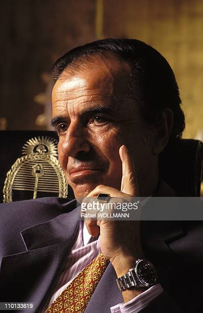 Portraits of Carlos Menem in Argentina on February 14 1996