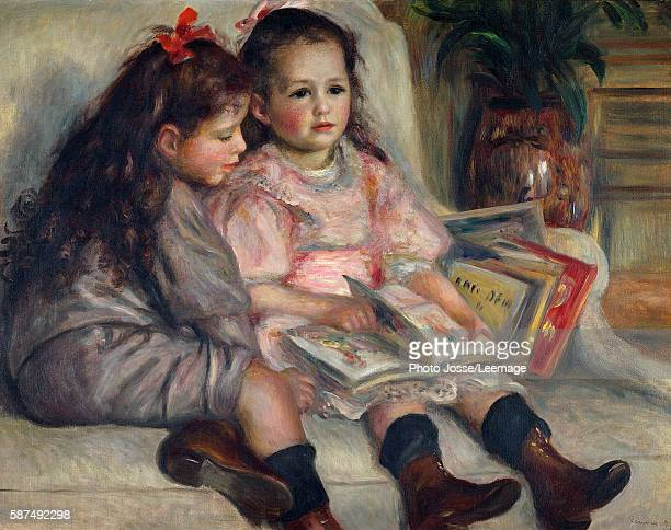 Portraits of children 1895 Two girls reading Painting by Pierre Auguste Renoir Private Collection