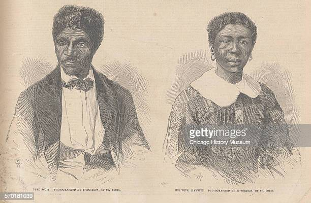 Portraits of Dred Scott and his wife Harriet Scott circa 1857 Illustration of a wood engraving from a photograph by Fitzgibbon of St Louis Missouri...