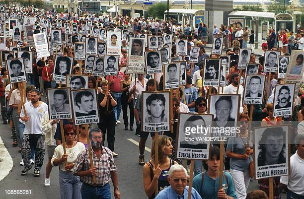 Portraits of ETA members imprisoned in San Sebastian Spain on July 27th 1997