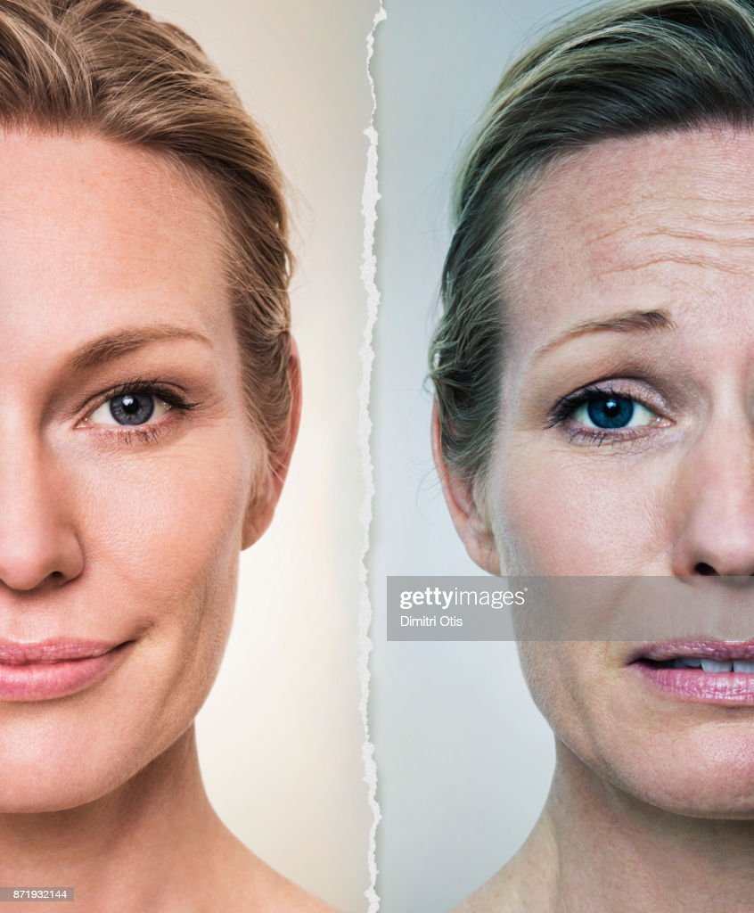 Portraits of happy and stressed woman, side by side : Stock Photo