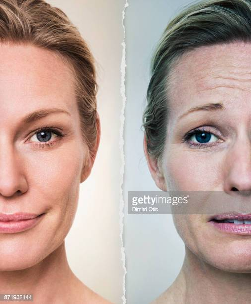 Portraits of happy and stressed woman, side by side