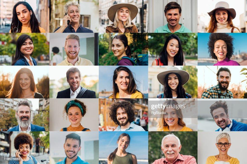 Retratos de homens e de mulheres felizes : Foto de stock