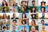 Portraits of happy men and women