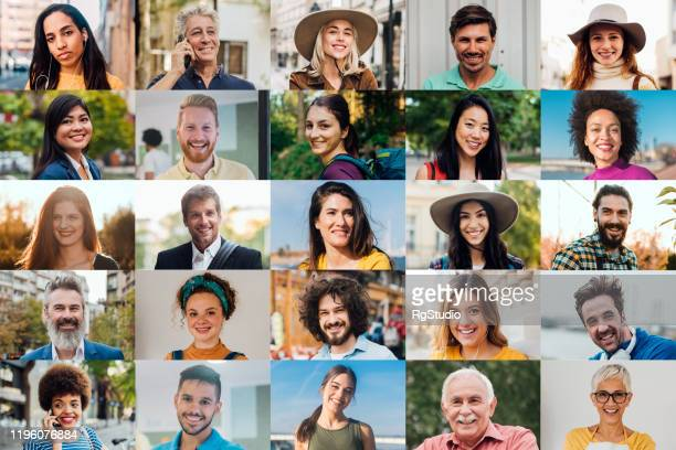 portraits of happy men and women - large group of people imagens e fotografias de stock