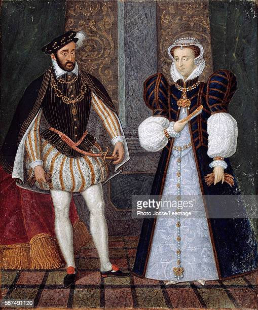 Portraits of Henry II and Catherine de Medicis , King and Queen of France. Anonymous French painting, 16th century. Castle Museum, Anet, France