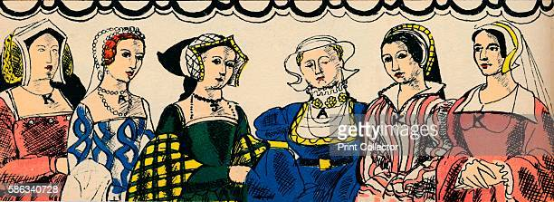 Portraits of Henry VIII's six wives Catherine of Aragon Anne Boleyn Jane Seymour Anne of Cleves Catherine Howard and Catherine Parr From Kings and...