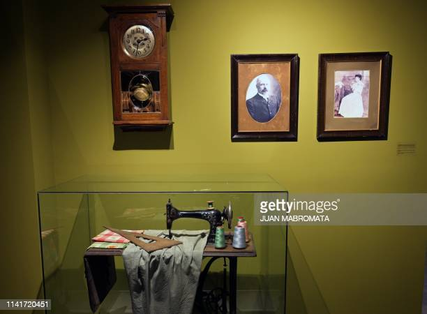 Portraits of Juan Duarte and Juana Ibarguren parents of former Argentina's First Lady Eva Peron are exhibited among other objects at the Evita Museum...