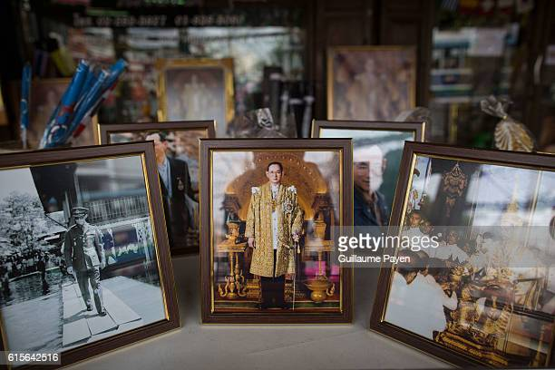 Portraits of late King Bhumibol Adulyadej are displayed at a shop that specialises in monarchy portraits. Thai King Bhumibol Adulyadej was the...