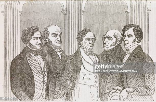 Portraits of Lionel de Rothschild Mr James Pattison Lord John Russell George Larpent and Mr William Payne engraving from L'album giornale letterario...