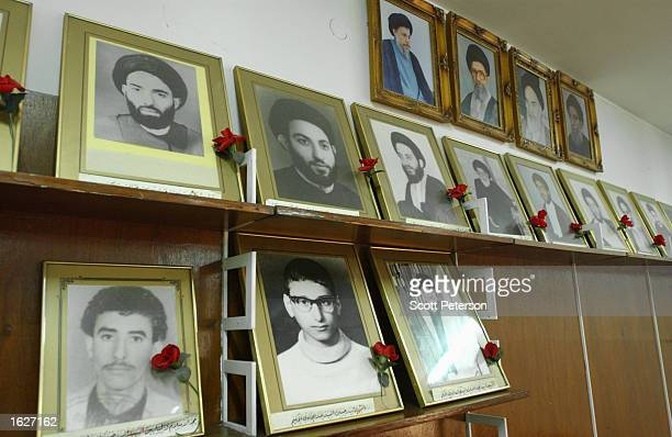Portraits of martyrs killed by the Iraqi regime of the family of Ayatollah Mohammad Sayed Bakr alHakkim leader of the armed Iraqi Shiite Muslim group...