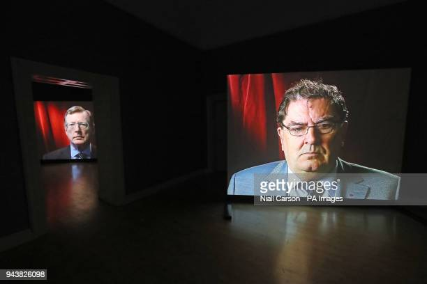 Portraits of Nobel Peace Prize winners David Trimble and John Hume are seen exhibition entitled The Keeper by Amanda Dunsmore at the Hugh Lane...