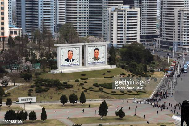 portraits of north korean leaders. pyongyang, north korea. - kim il sung imagens e fotografias de stock