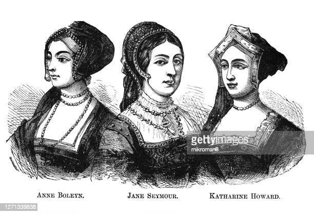 portraits of  of three wives of england's king henry viii - anne boleyn, jane seymour, and katharine howard - british royalty stock pictures, royalty-free photos & images