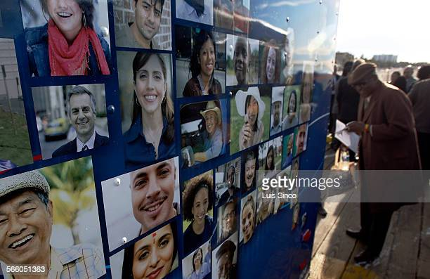Portraits of ordinary everyday Americans decorate the exterior of a van that the US Census Bureau will use to publicize this year's population count...