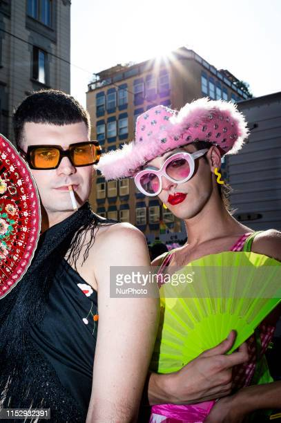 Portraits of people during the Gay Pride 2019 on June 29, 2019 in Milan, Italy.