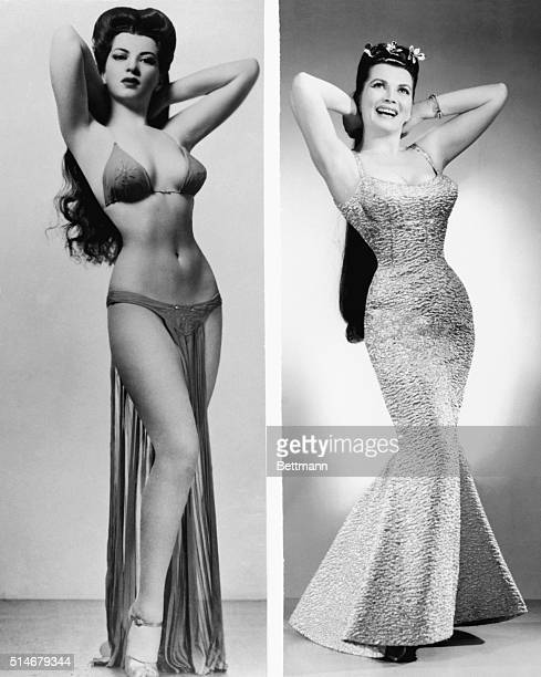 Portraits of pinup girl Sherry Britton in a bikini in the 1940's and wearing an evening gown twenty years later Britton was made an honorary...