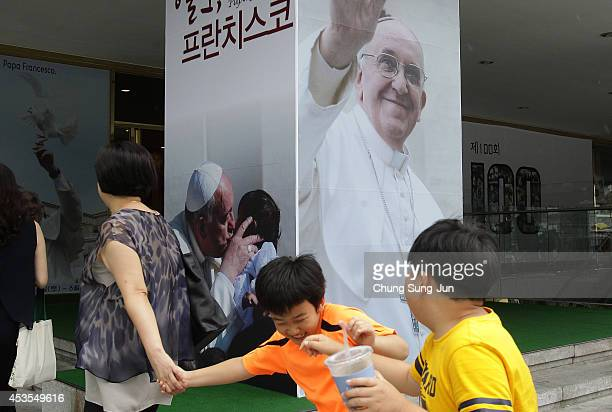 Portraits of Pope Francis are displayed on August 13 2014 in Seoul South Korea Pope Francis will be visiting from August 14 to August 18 This is the...