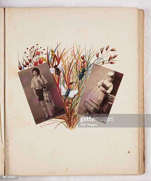 UNITED KINGDOM NOVEMBER 15 Portraits of R T Crawshay and H Crawshay wearing traditional costume decorated with plants and insects Handdecorated album...