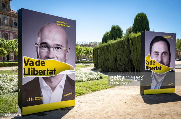 Portraits of Raul Romeva and Oriol Junqueras both politicians in prison seen during the electoral campaign. The political formation Esquerra...