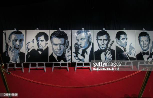 Portraits of Sean Connery Timothy Dalton Pierce Brosnan Daniel Craig George Lazenby Rowan Atkinson and Roger Moore as James Bond's made entirely of...