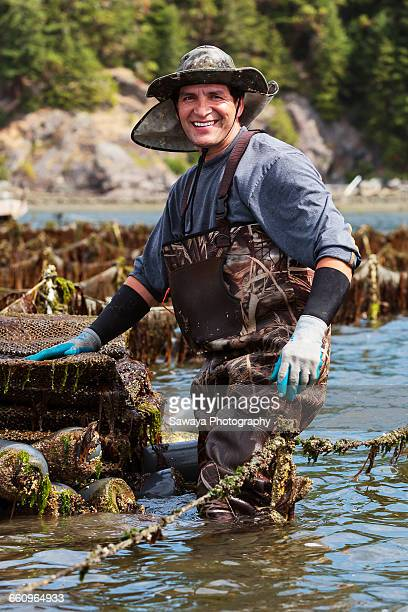 Portraits of shellfish farmers.