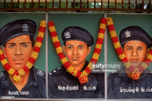 Portraits of Tamil separatist Liberation Tigers of Tamil Eelam fighters felled in battle w majority Sinhalese at shrine in wklong LTTE memorial fete