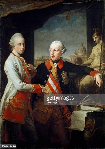 Portraits of the brothers Leopold II grand duke of Tuscany and Joseph II Holy Roman Emperor In the Background St Peter Basilica in Rome Painting by...