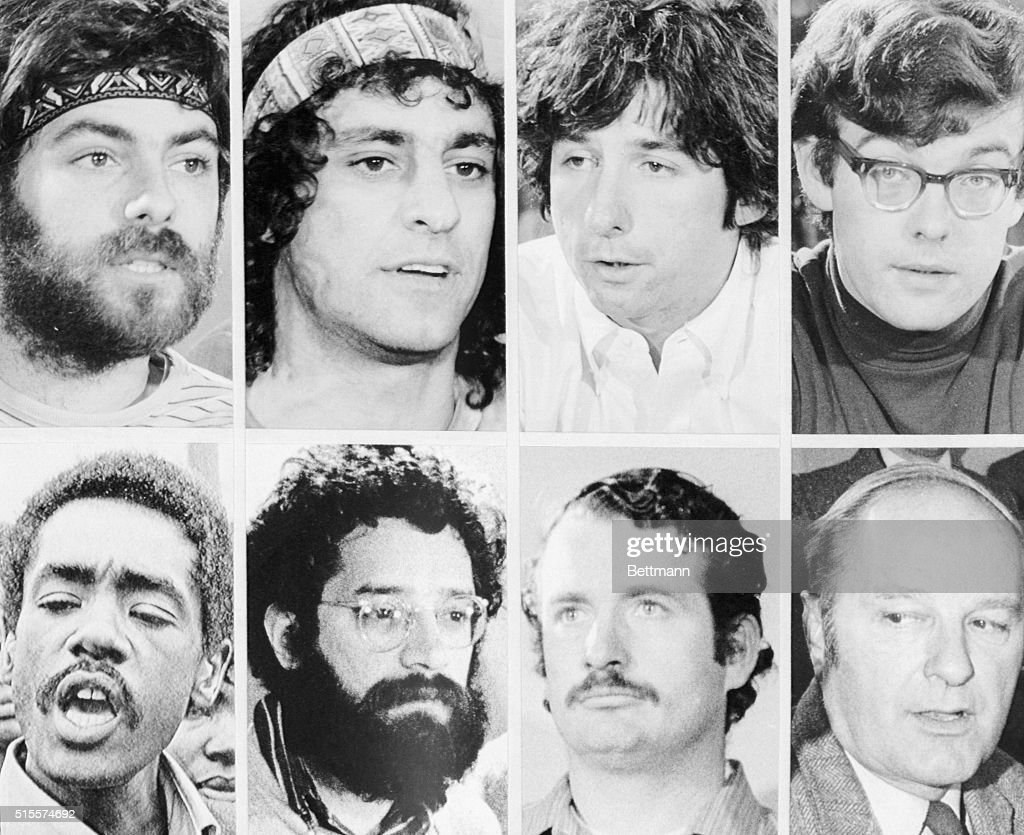 Portraits of the defendants in the 'Chicago 8' trial for conspiracy to incite violence during the 1968 Democratic Convention. Although found guilty, all conviction in this trial were overturned on appeal.