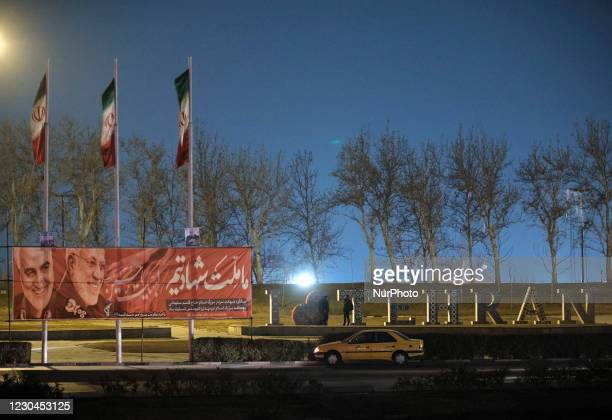 Portraits of the former commander of the IRGC Quds Force, General Qaasem Soleimani and the Iraqi commander of the Popular Mobilization Force,...